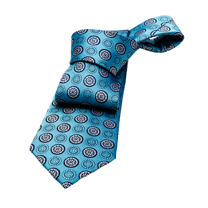 Light Blue & Silver Foulard Silk Tie