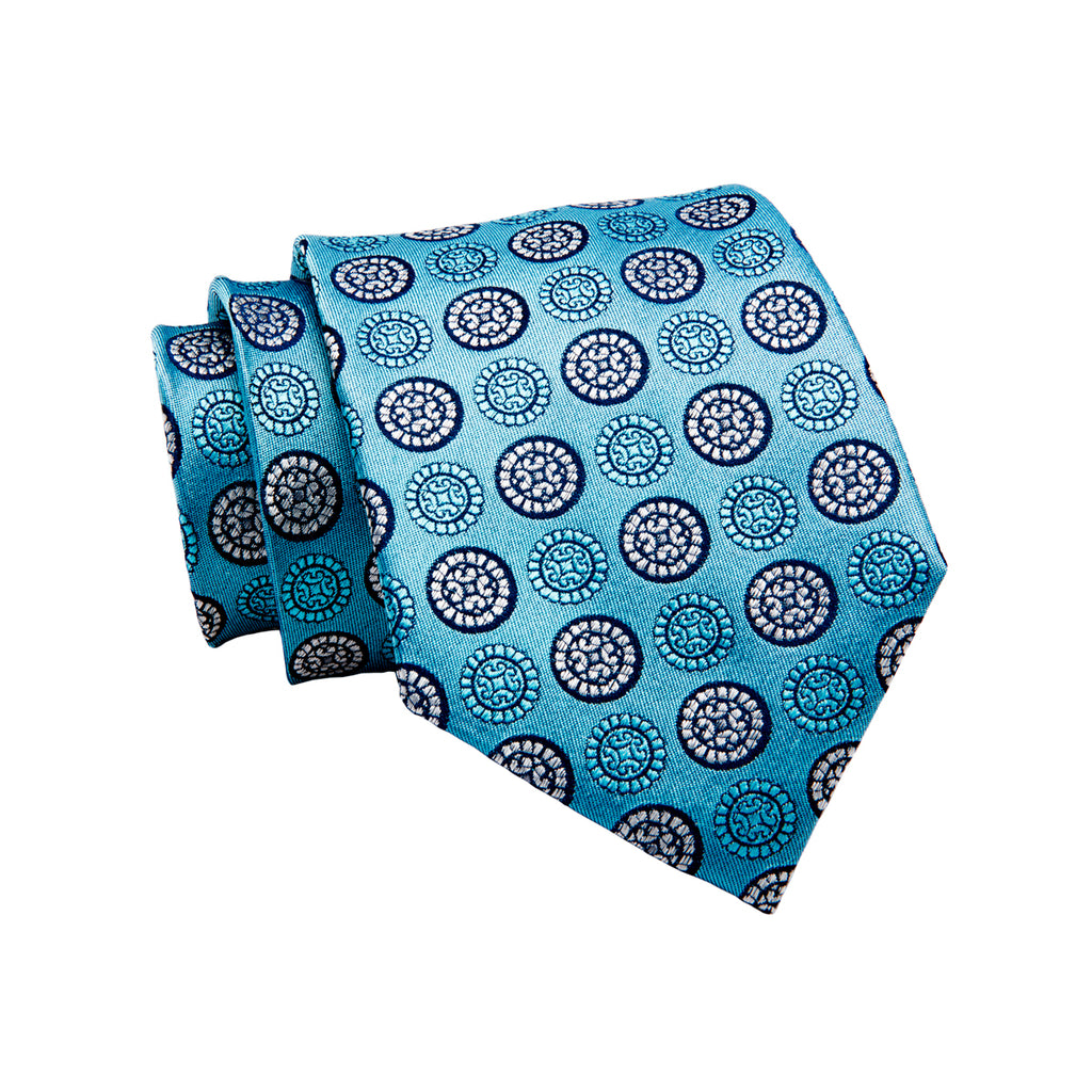 Light Blue & Foulard Silk Tie