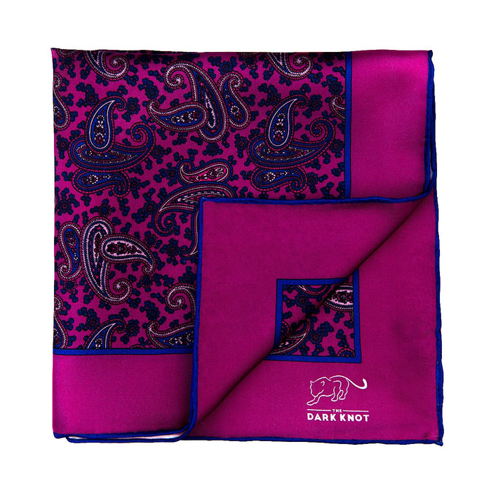 Pink & Blue Paisley Silk Pocket Square