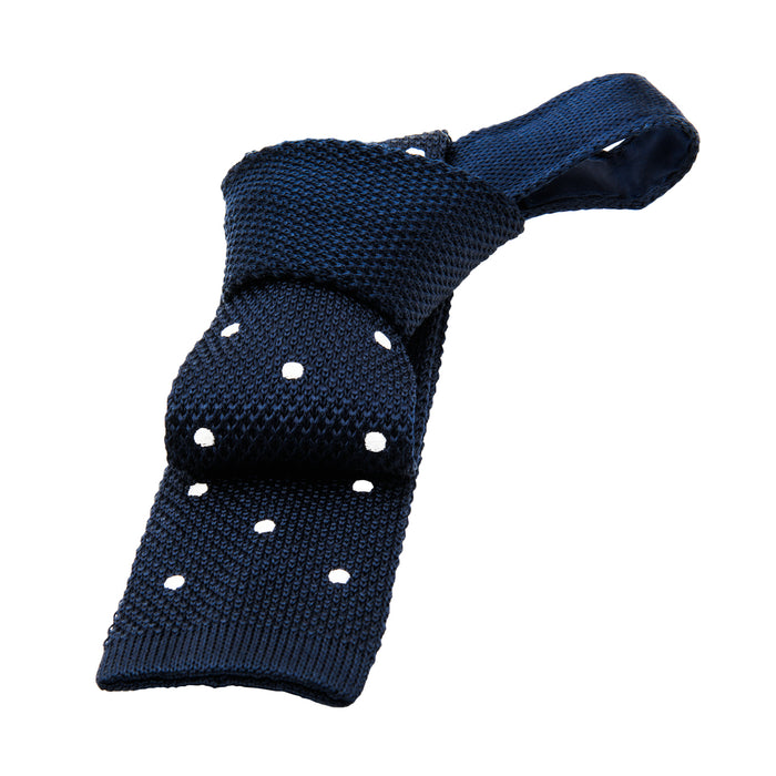Navy & White Polka Dot Knit Tie