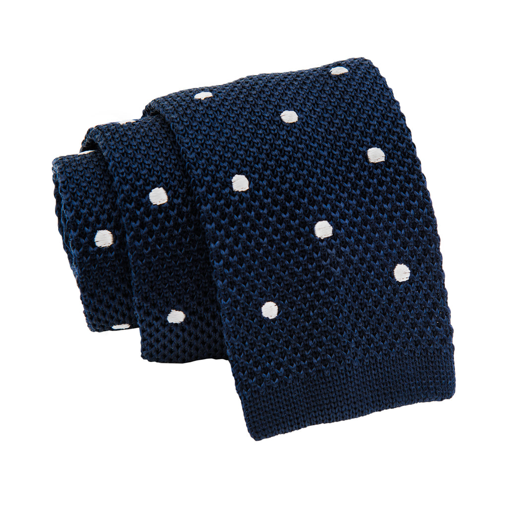 Navy & White Polka Dot Silk Knit Tie