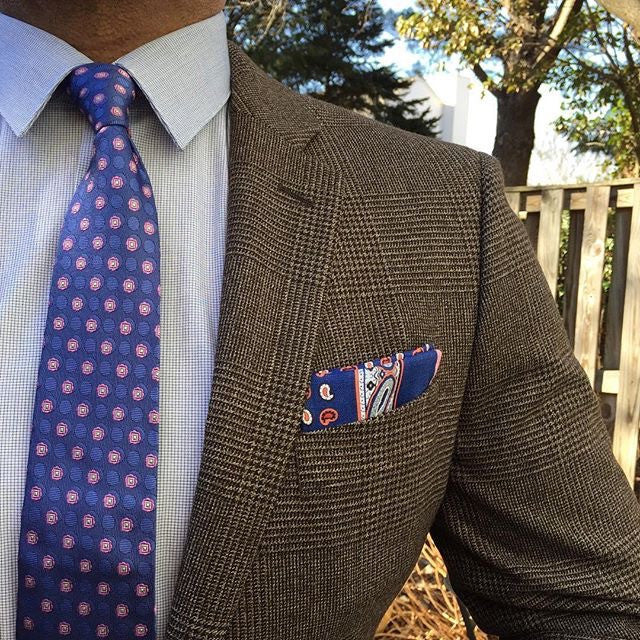 Blue White and Red Linen Pocket Square with hand rolled contrasting edges