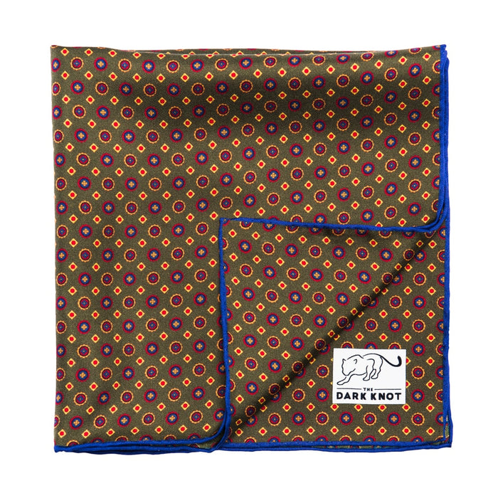 Olive Green Abstract Silk Pocket Square