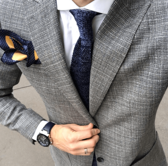 Grey Silk Knit Tie