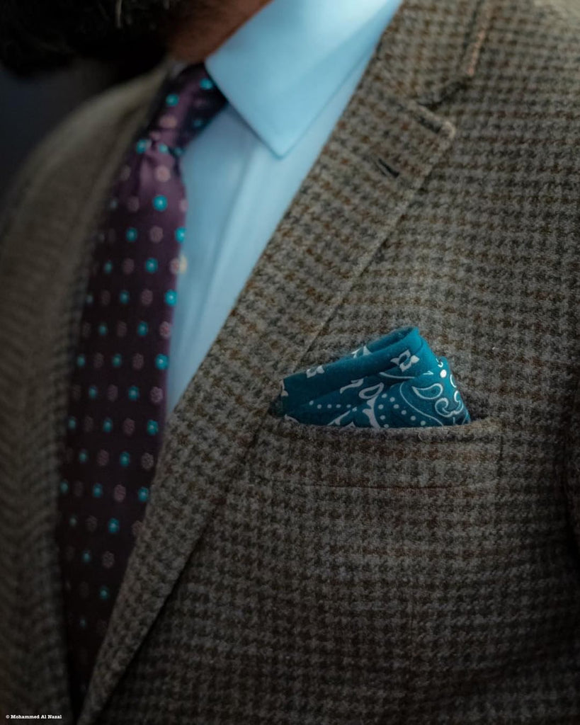 Green Paisley Linen Pocket Square