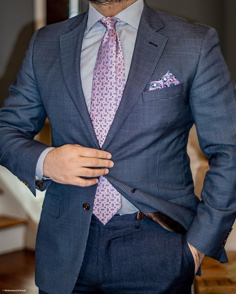 Lilac Paisley Linen Pocket Square