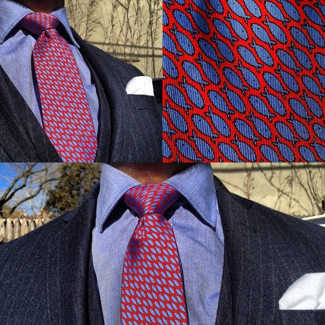 Red with blue fish printed silk tie