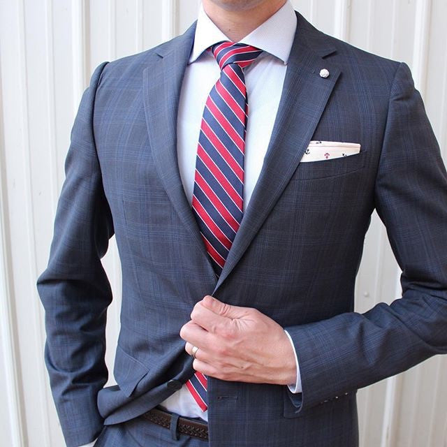 Navy & Red Striped Silk Tie