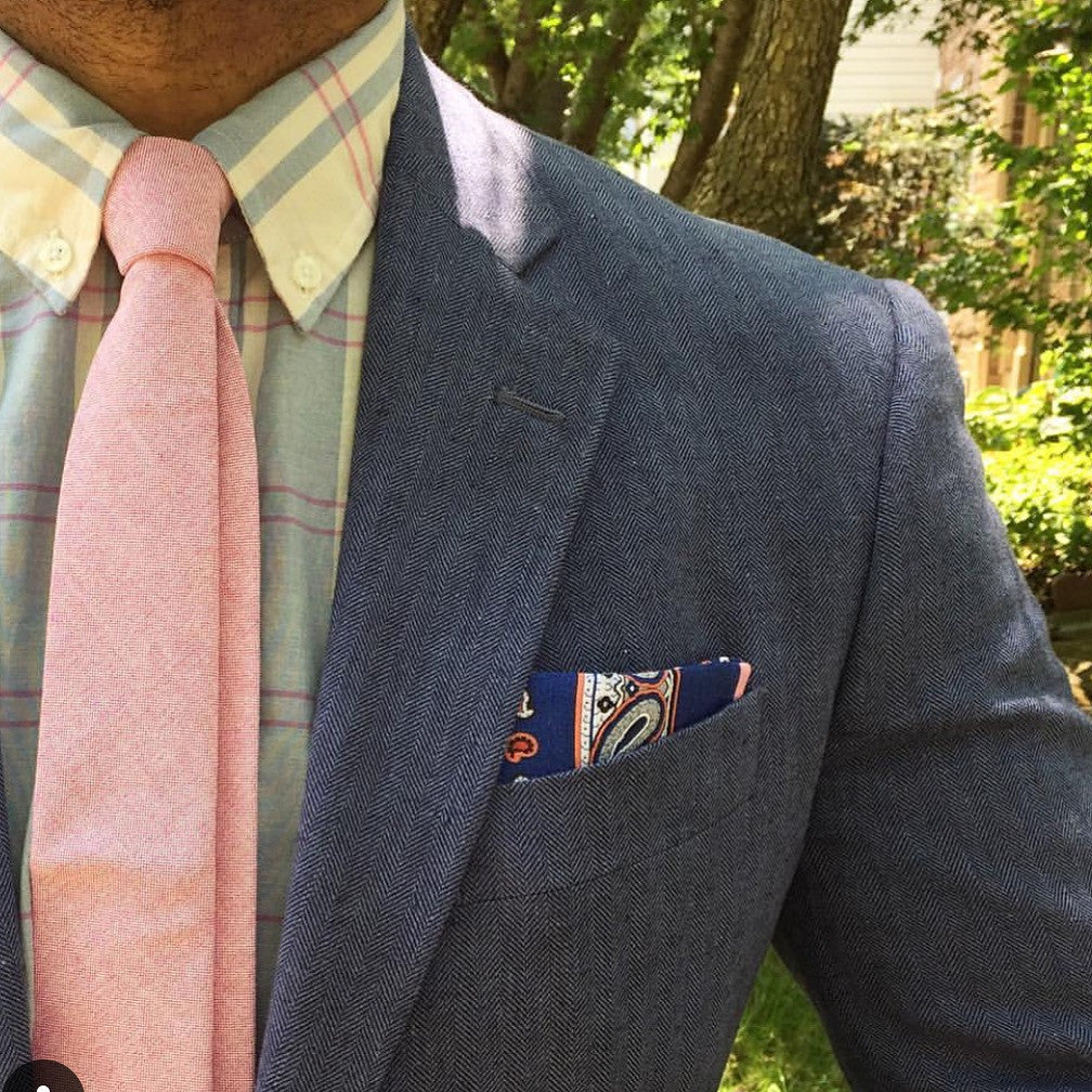 Blue & Pink Foulard Linen Pocket Square