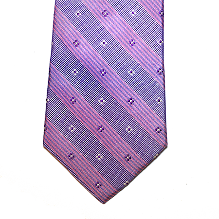 Lilac and Purple Floral Striped Silk Tie