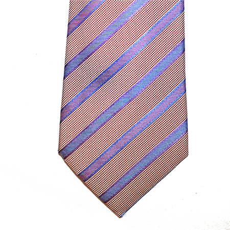 Cream and Pink striped silk tie