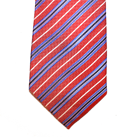 Red with blue stripes silk tie