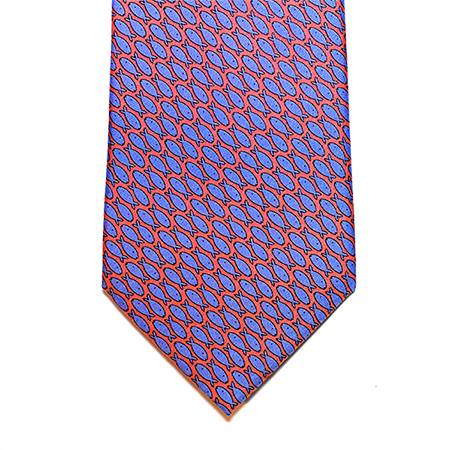 Coral with blue printed silk tie