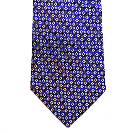 blue and silver abstract silk tie