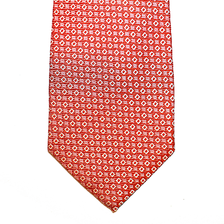 Coral and abstract silk tie