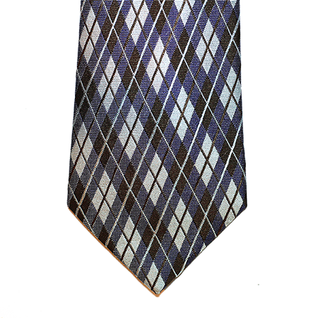 Turquoise and Brown Plaid Silk Tie
