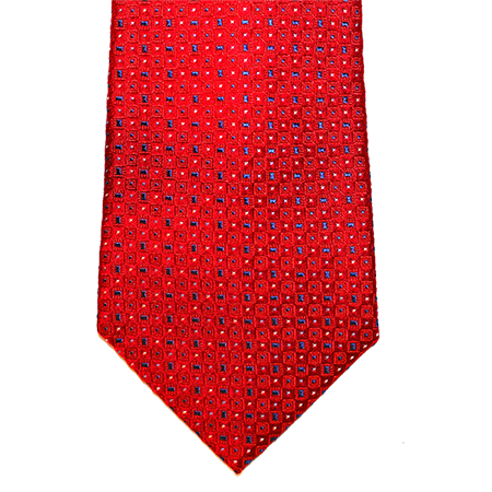 Red with navy abstract silk tie