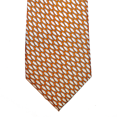 Orange with white printed silk tie