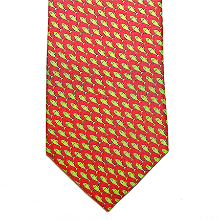 pink with green fish printed silk necktie