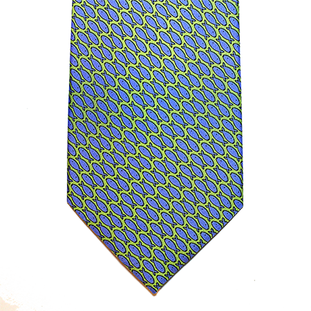 Green with blue printed silk tie