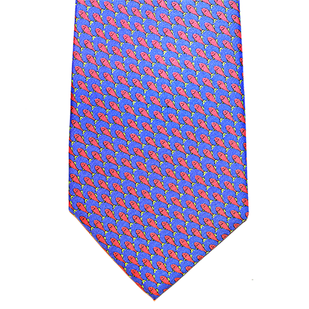 Blue with Pink Fish Printed Silk Tie