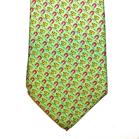 Green printed silk tie