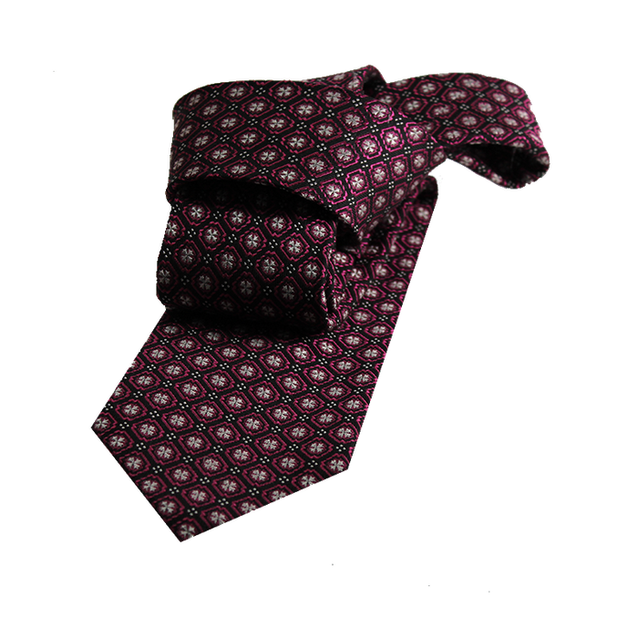 Burgundy abstract silk tie