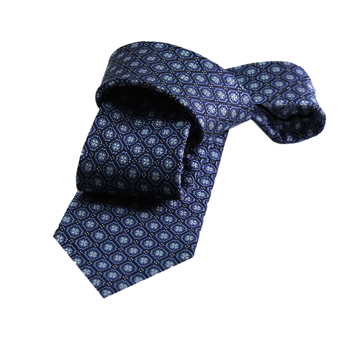 Navy abstract silk tie