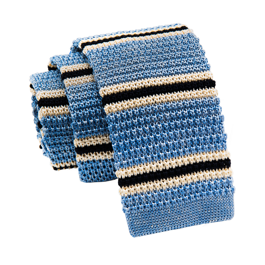 Striped Blue Knitted Tie