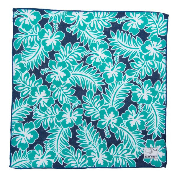 Navy Floral Linen Pocket Square