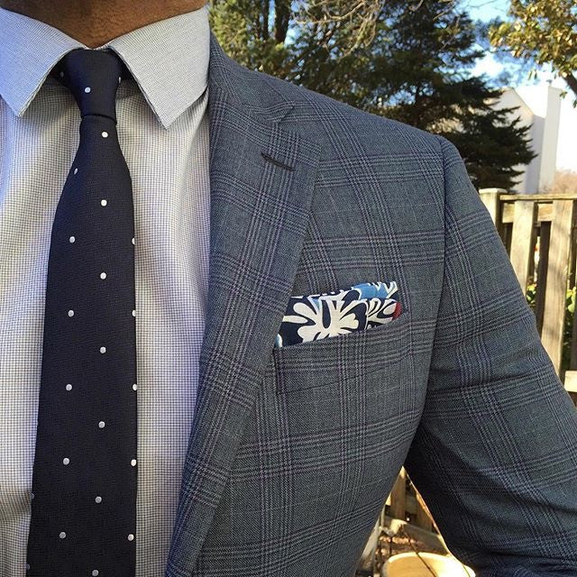 Blue Floral Linen Pocket Square with hand rolled edges