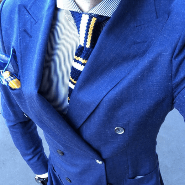 Navy & Yellow Stripes Silk Knit Tie