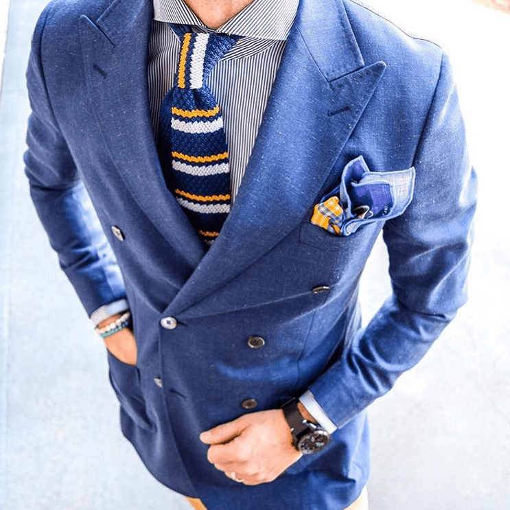 Blue & Yellow Striped Silk Knit Tie