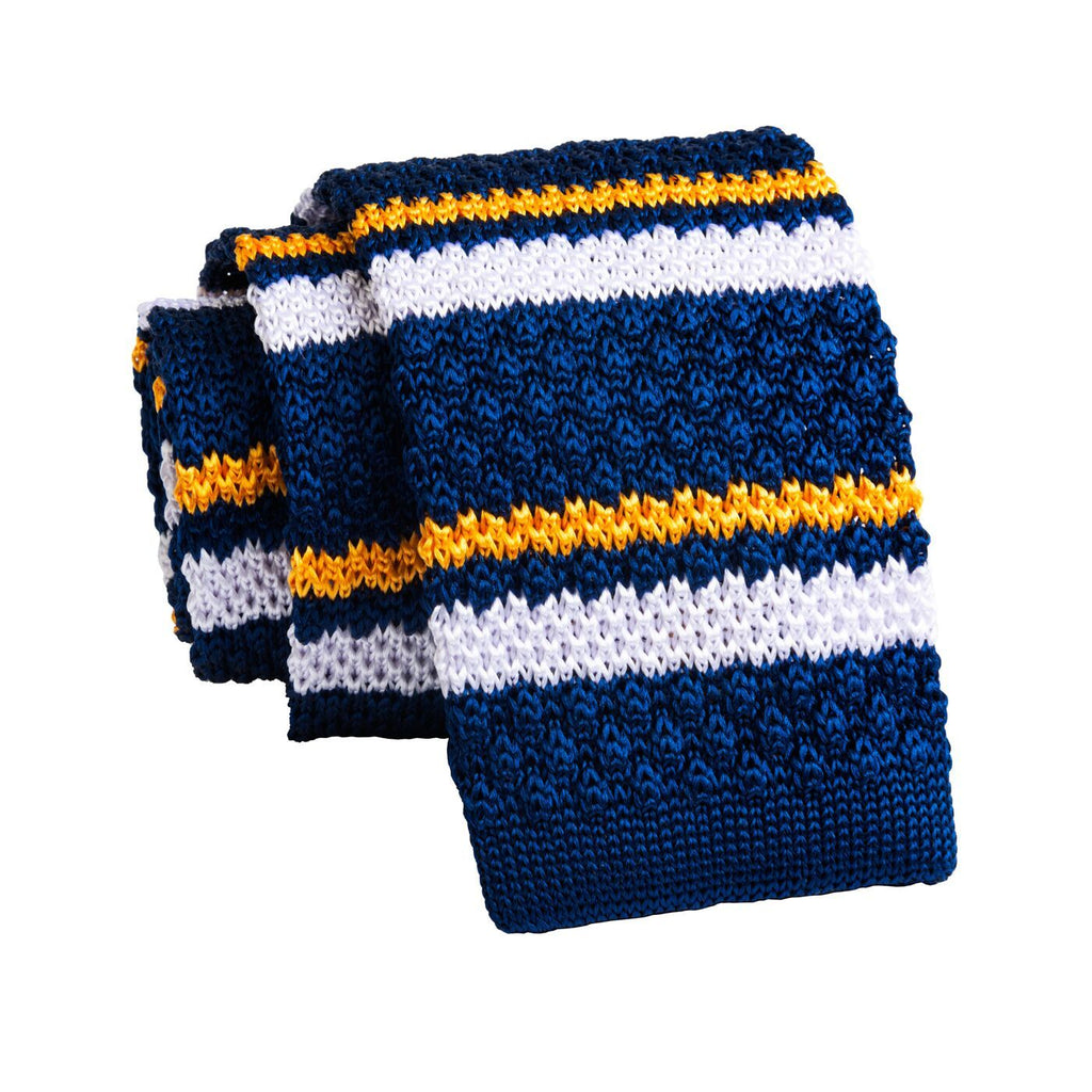 Blue & Yellow Stripes Knitted Silk Tie