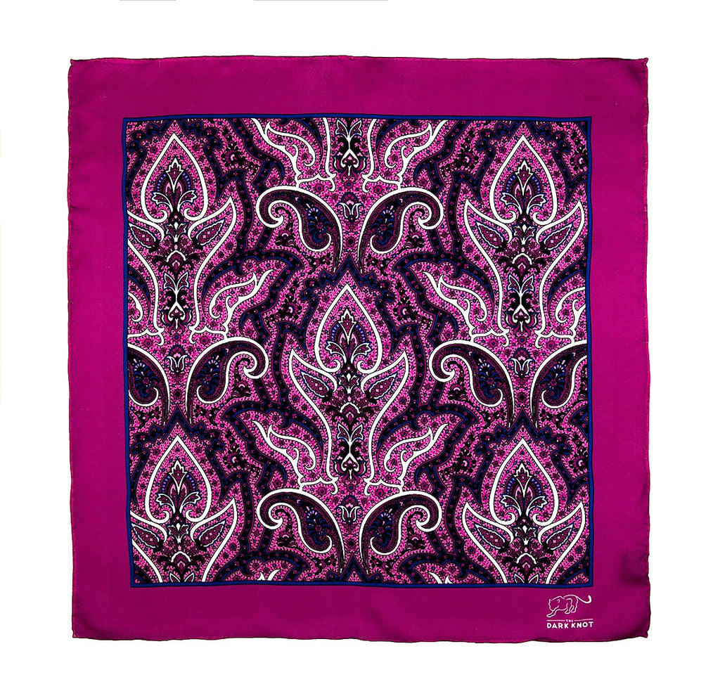 Pink, Blue & White Paisley Silk Pocket Square