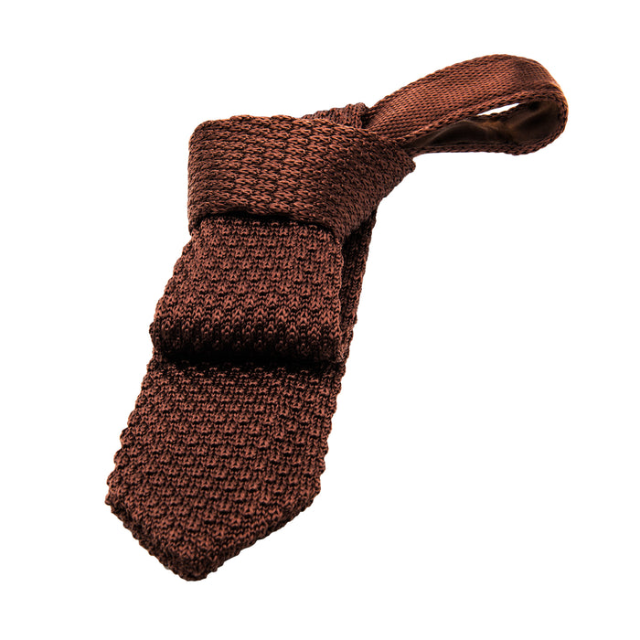 Textured Brown Knitted Tie