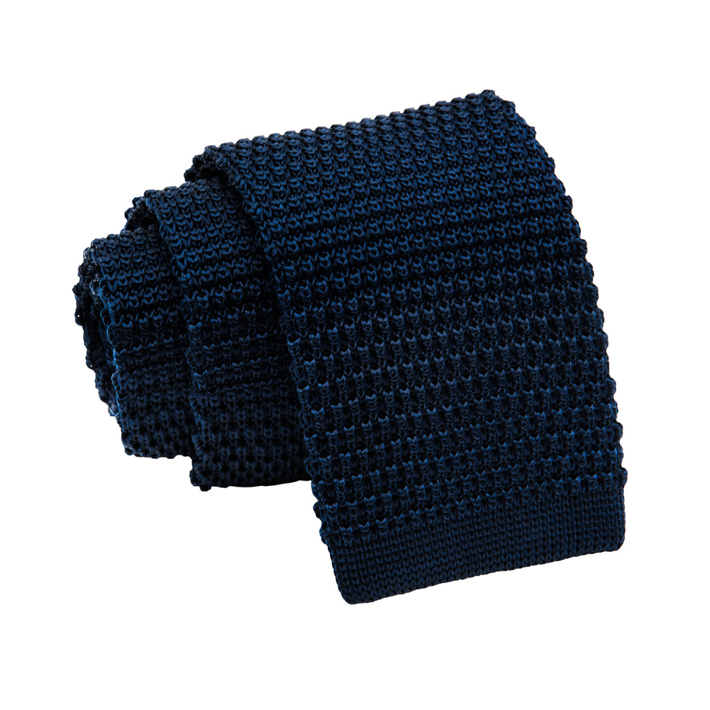 Solid Navy Knitted Silk Tie