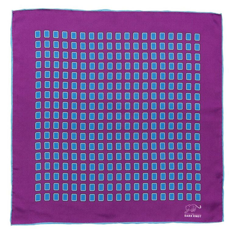 Foulard Silk Pocket Square Purple and Blue