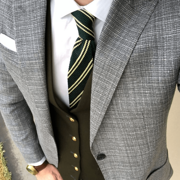 Green Striped Silk Knit Tie