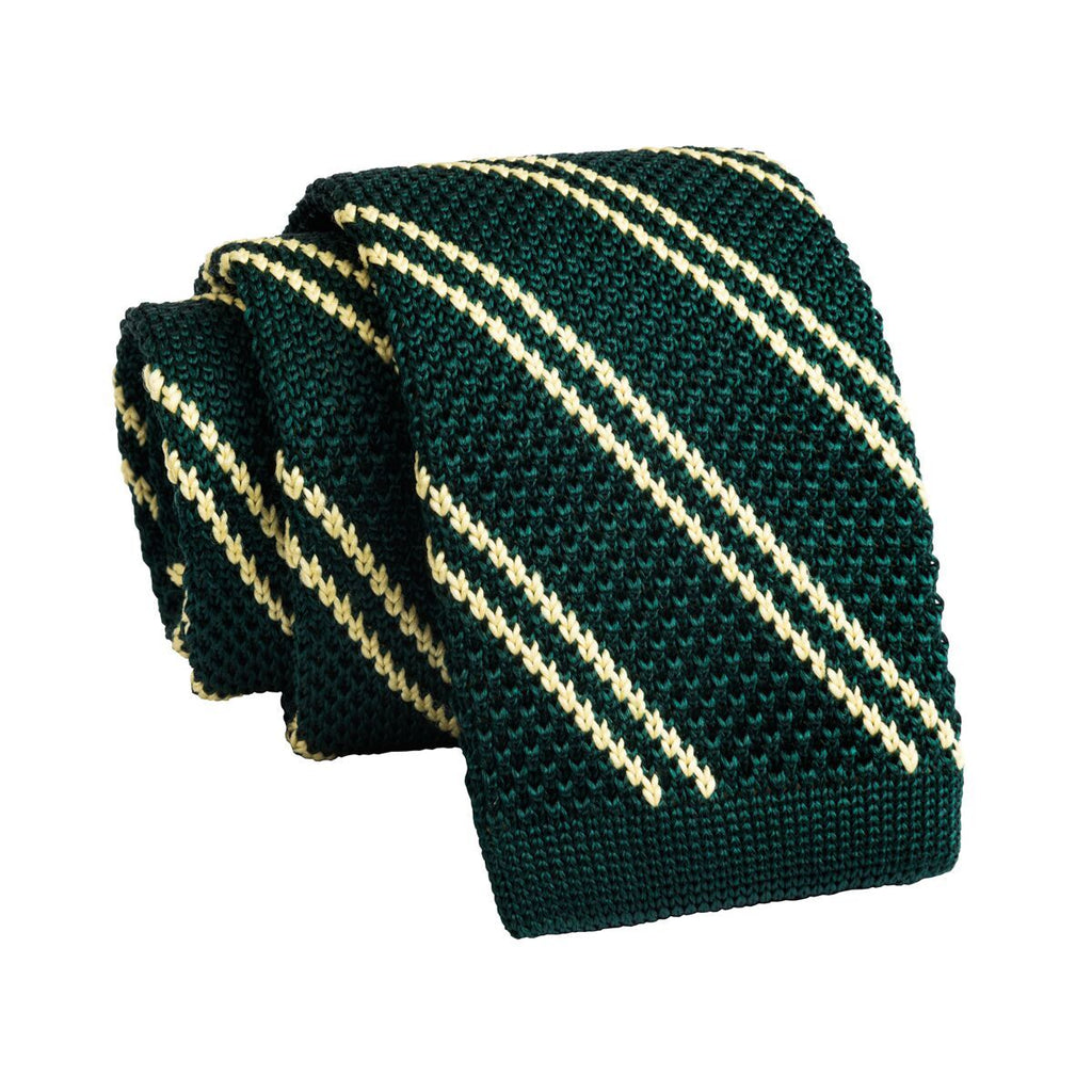 Green Striped Knitted Silk Tie
