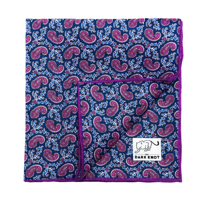 Navy & Pink Linen Pocket Square