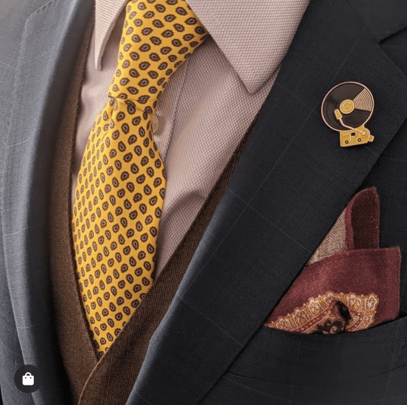 Yellow & Brown Geometric Foulard Silk Tie