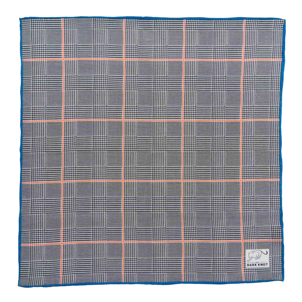Checkered Grey & Orange Linen Pocket Square