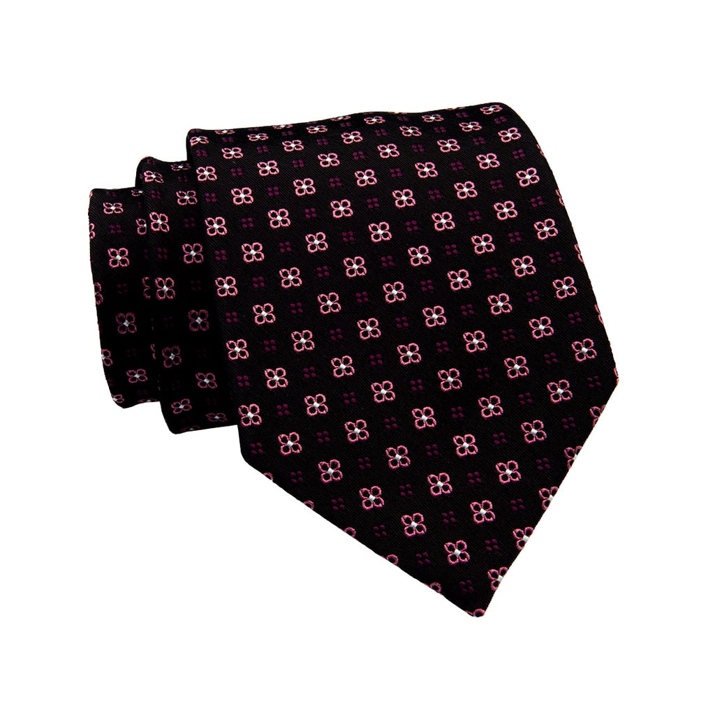 Black & Pink Abstract Silk Tie