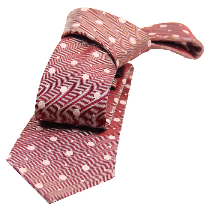 Monroe Dots Silk Tie, Burgundy / Cream