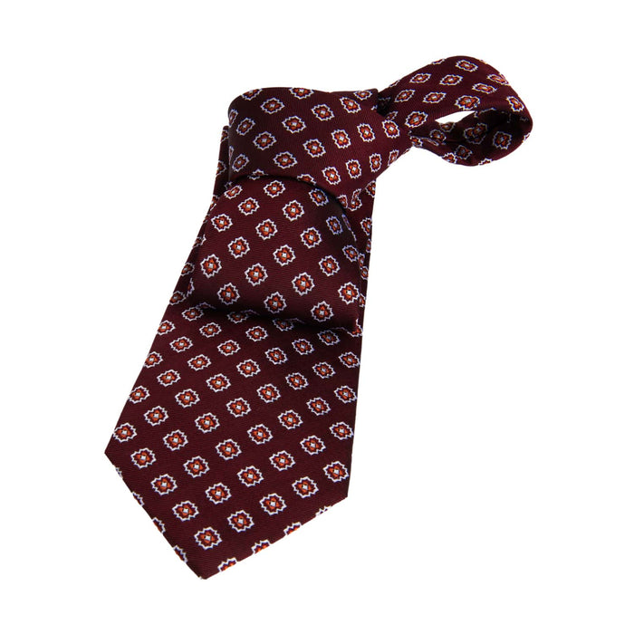 Burgundy & Orange Foulard Silk Tie
