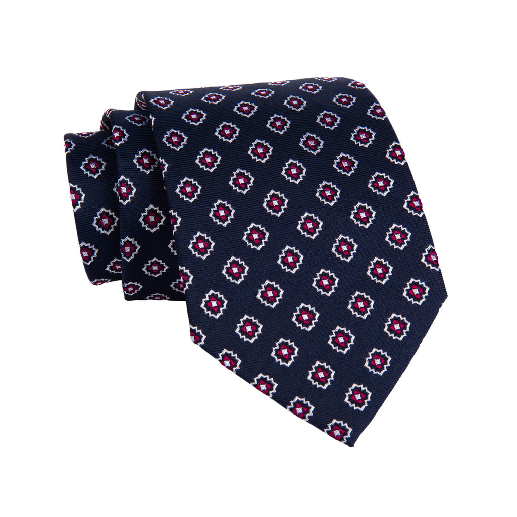 Navy & Red Foulard Silk Tie