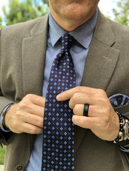 Navy & Brown Foulard Premium Silk Tie