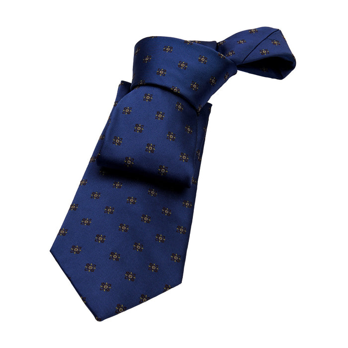 Blue & Brown Foulard Silk Tie