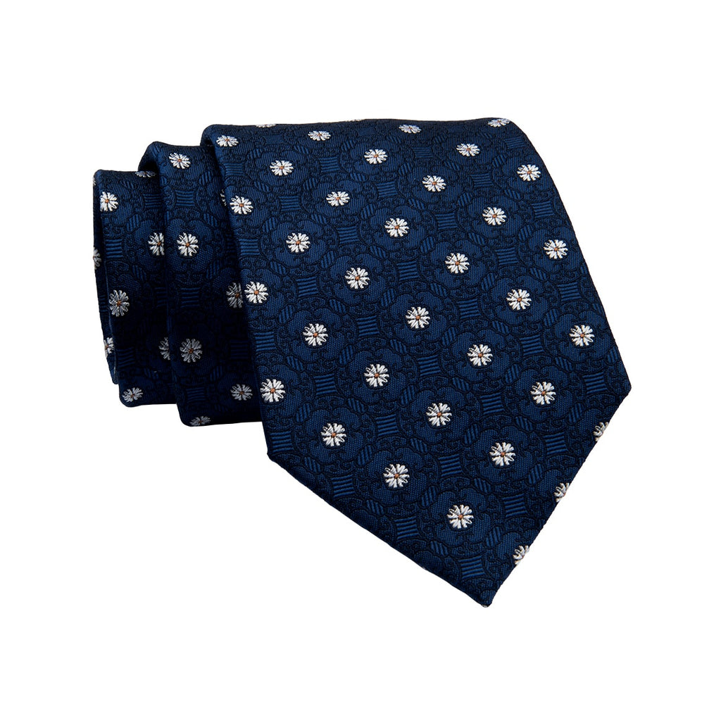 Blue & Silver Abstract Silk Tie
